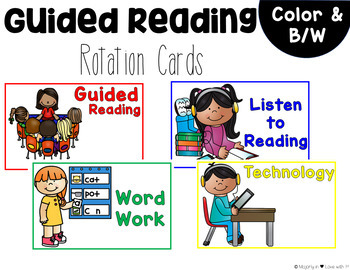 Guided Reading Rotation Cards [Color & B/W]