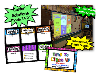 Guided Reading Rotation Editable Powerpoint Bright Stripes for 5 centers