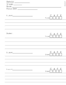 CAFE Guided Reading Rubric