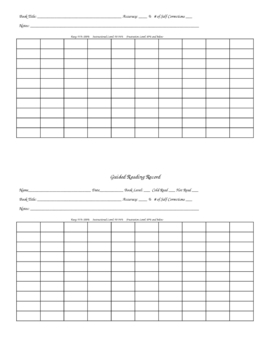 Guided Reading Running Record