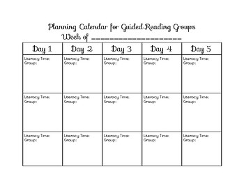 Guided Reading Schedule Sheet