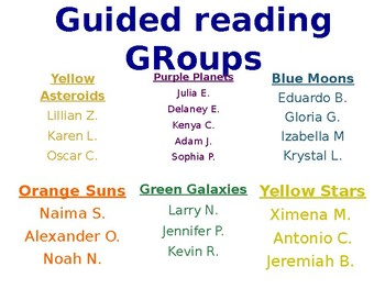 Guided Reading Schedule Template