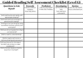 Guided Reading Self-Assessment Checklist (Levels F-W)