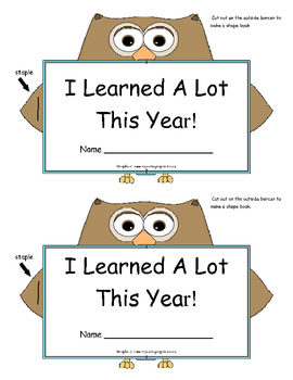 Guided Reading Shape Booklet: I Learned A Lot This Year!