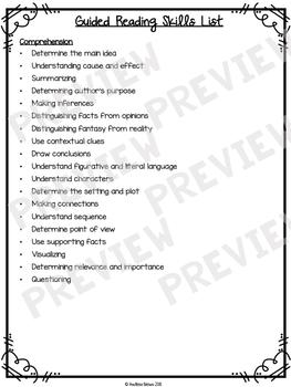 Guided Reading Skills List