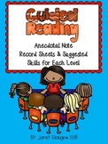 Guided Reading Anecdotal Notes with Skills for Each Level
