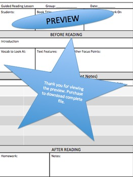 Guided Reading Small Group Lesson Plan Format