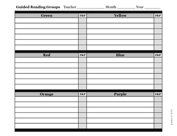 Guided Reading: Small Group Roster