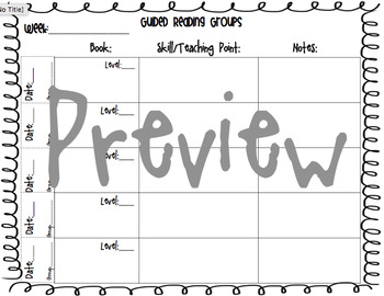 Guided Reading Small Groups Planning Conference Sheet
