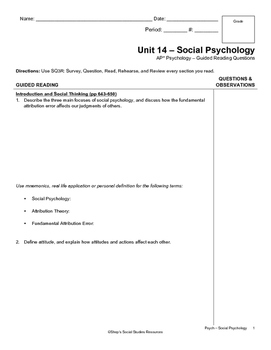Guided Reading - Social Psychology