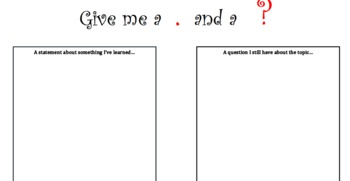 Guided Reading - Statement and Question Post-It Notes