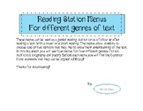 Guided Reading Station Menus for Different Genres