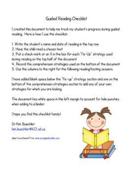 Guided Reading Strategies Assessment Checklist