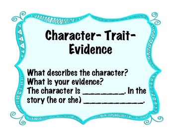 Guided Reading Strategy Poster- Character/Trait/Evidence