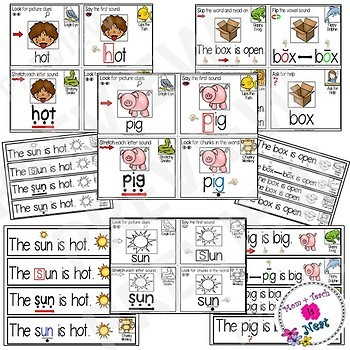 Guided Reading Strategy Prompt Cards & Strips CVC Words- Set 1
