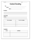 Guided Reading Student Form