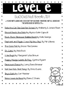 Guided Reading Suggested Book List