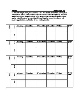 Guided Reading Take Home Reading Log