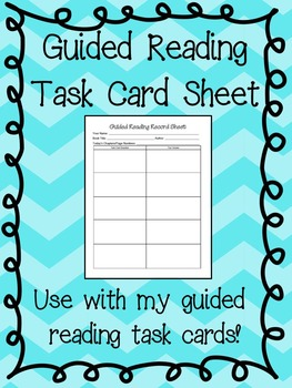 Guided Reading: Task Card Record Sheet