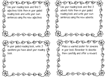 Guided Reading Task Cards Set of 24