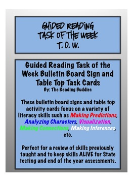 Guided Reading Task of the Week Activity Cards