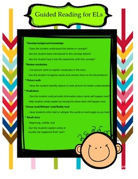 Guided Reading Teacher Chart for ELs