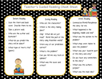 Guided Reading Teacher Cheat Sheet