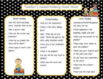 Guided Reading Teacher Cheat Sheet