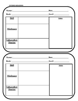 Guided Reading Teacher Lesson Plan Sheet
