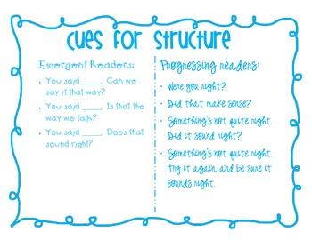 Guided Reading Teacher Prompting Cards