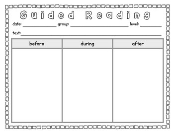 guided reading template before during after by caitlinandshannon