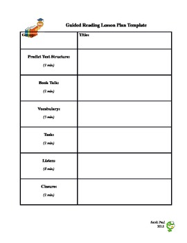 Guided Reading Template Individual Group