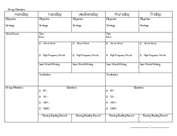 Guided Reading Template - weekly