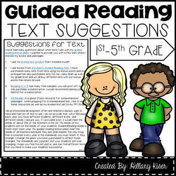 Guided Reading Text Suggestions