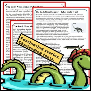 Guided Reading: The Loch Ness Monster. Three activities.