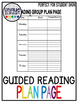 Guided Reading Toolkit- Guided Reading Plan Page
