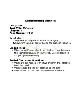 Guided Reading Tracker- Catwings