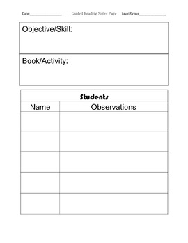 Guided Reading Tracking Form