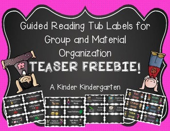 Guided Reading Tub Labels for Group and Material Organization - Teaser FREEBIE