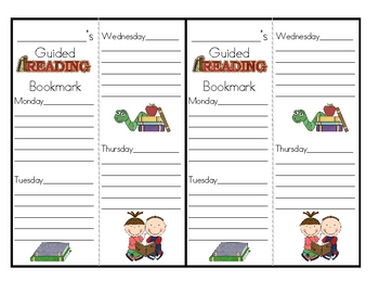 Guided Reading Weekly Follow Up Assignment Bookmark