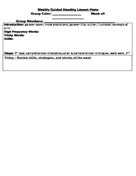 Guided Reading Weekly Lesson Plan Format
