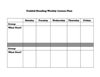 Guided Reading Weekly Lesson Plan Template