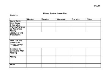 Guided Reading Weekly Lesson Plan Templates