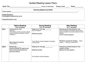 Guided Reading Weekly Plan
