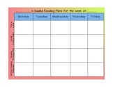 Guided Reading Weekly Plan Template