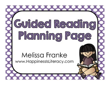 Guided Reading Weekly Planning Page