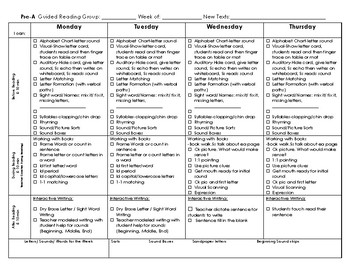 Guided Reading Weekly Pre-A and Emergent Templates