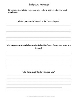 Guided Reading: Where Is the Grand Canyon- Common Core, No Prep, Printables