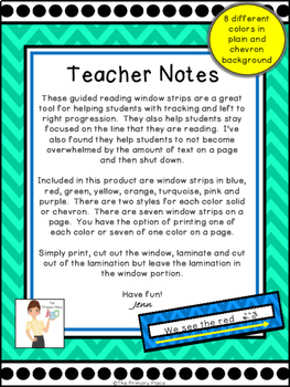 Guided Reading Window Strips