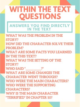 Guided Reading - Within the Text Anchor Chart